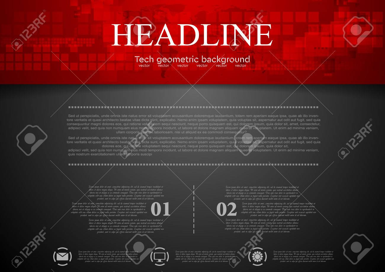 Black abstract background with red tech header with squares and map. Technology design - 65313583