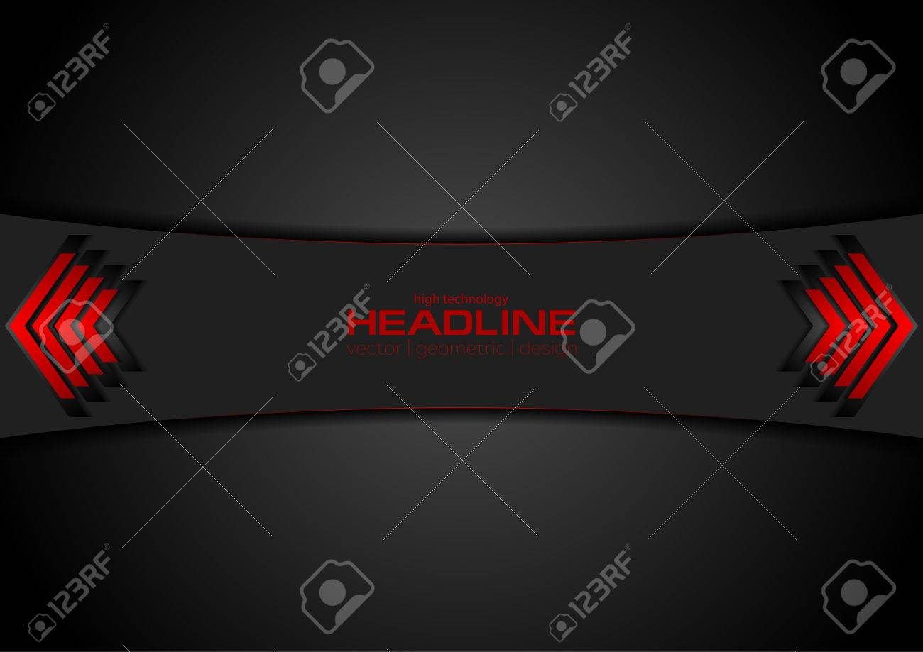Red and black tech background with arrows. Vector concept technology design - 66079195