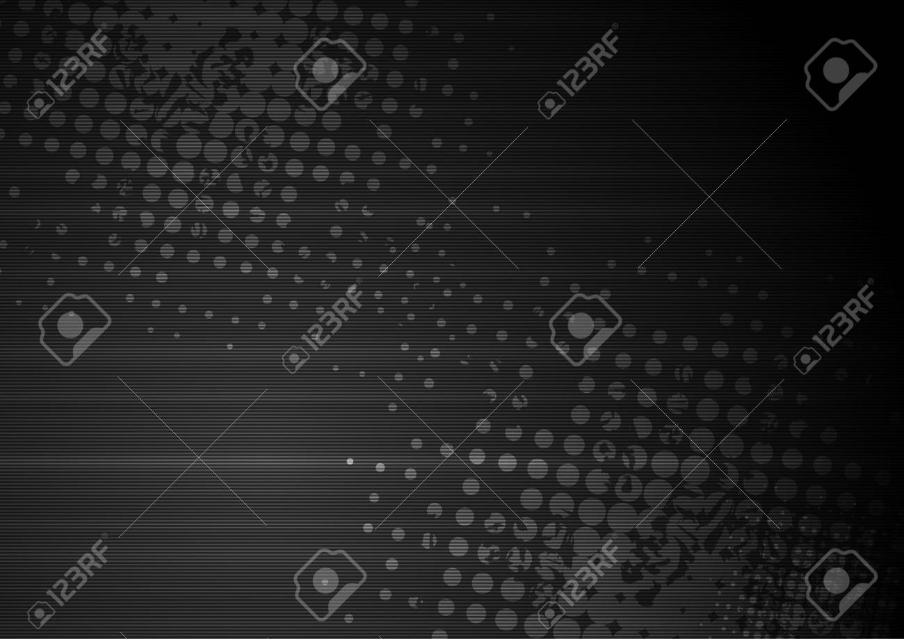 Black grunge abstract background with halftone and stripes. Vector design - 66079156