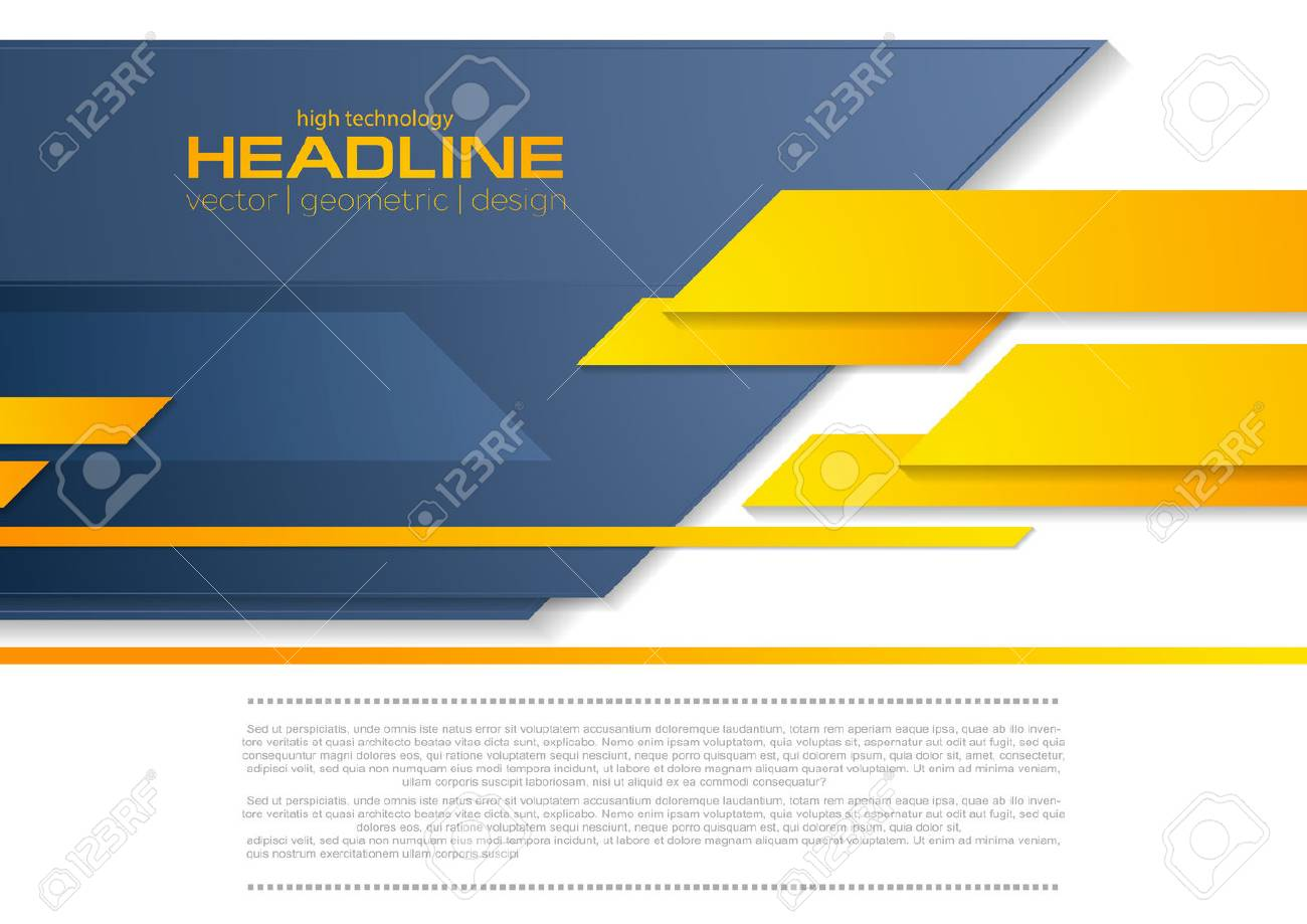 Blue orange tech business brochure corporate background. Vector template design - 69055203