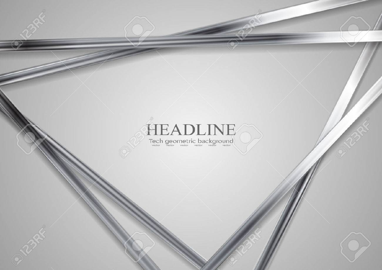 Tech metallic abstract triangles background. Silver metal stripes on grey backdrop. Hi-tech vector illustration - 70143165