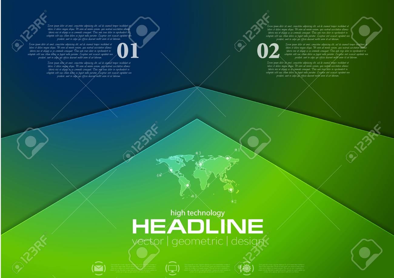Graphic Design Muur : Green and blue corporate abstract brochure design. vector background