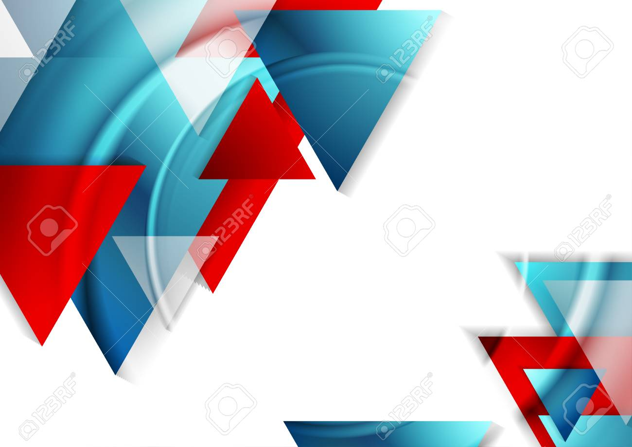Abstract Tech Geometric Background With Blue And Red Triangles