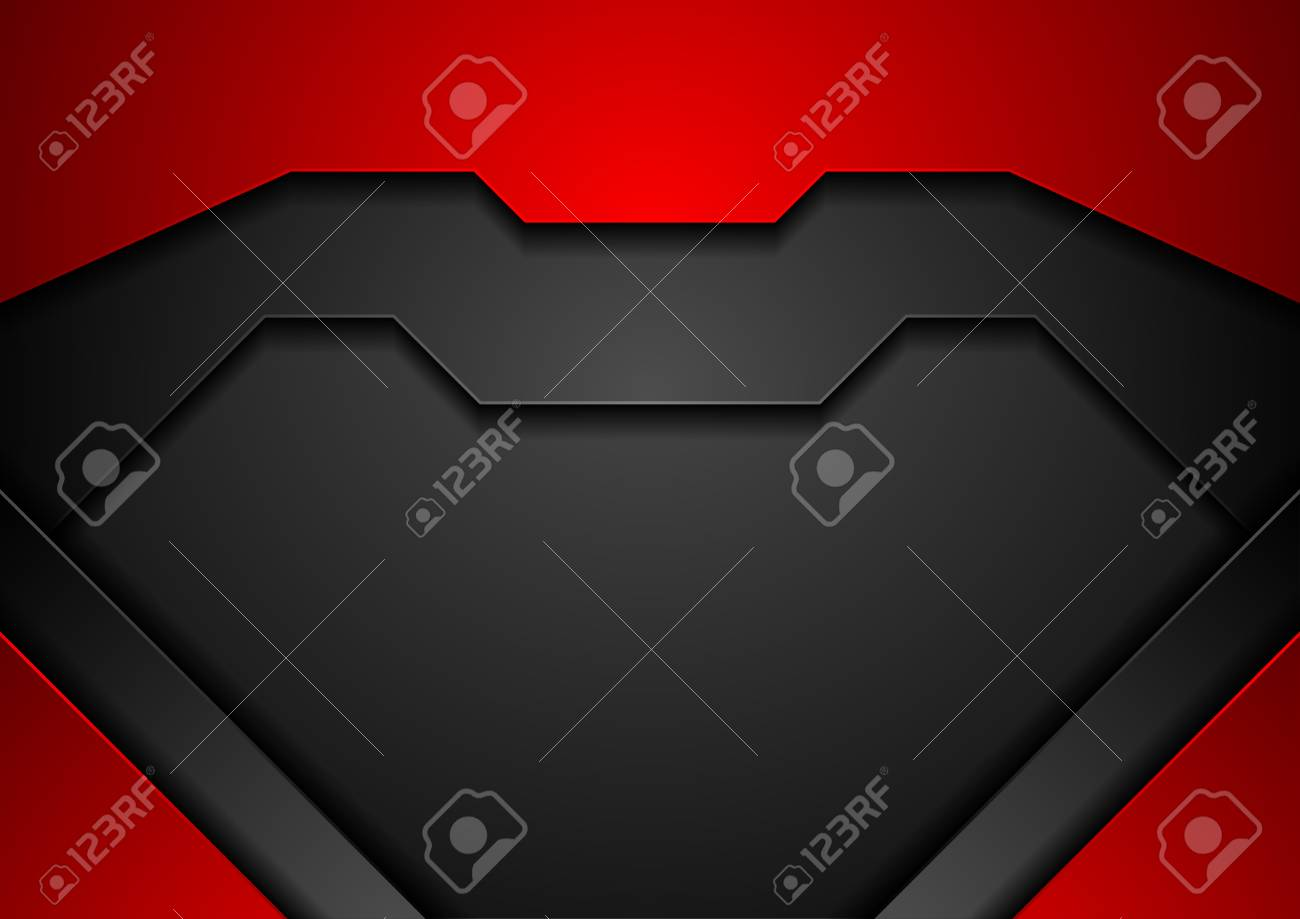 Contrast abstract red and black corporate technology background. Vector design - 115734089