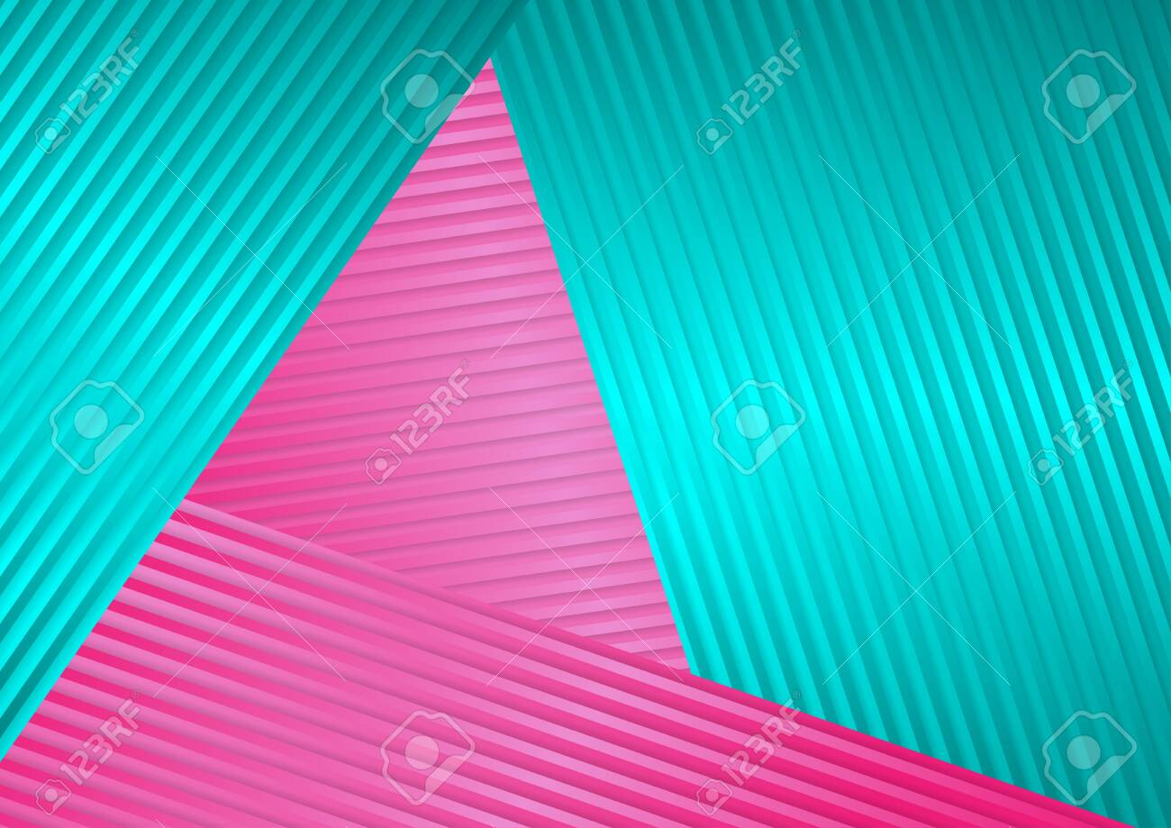 Turquoise and pink abstract corporate striped - 113537948