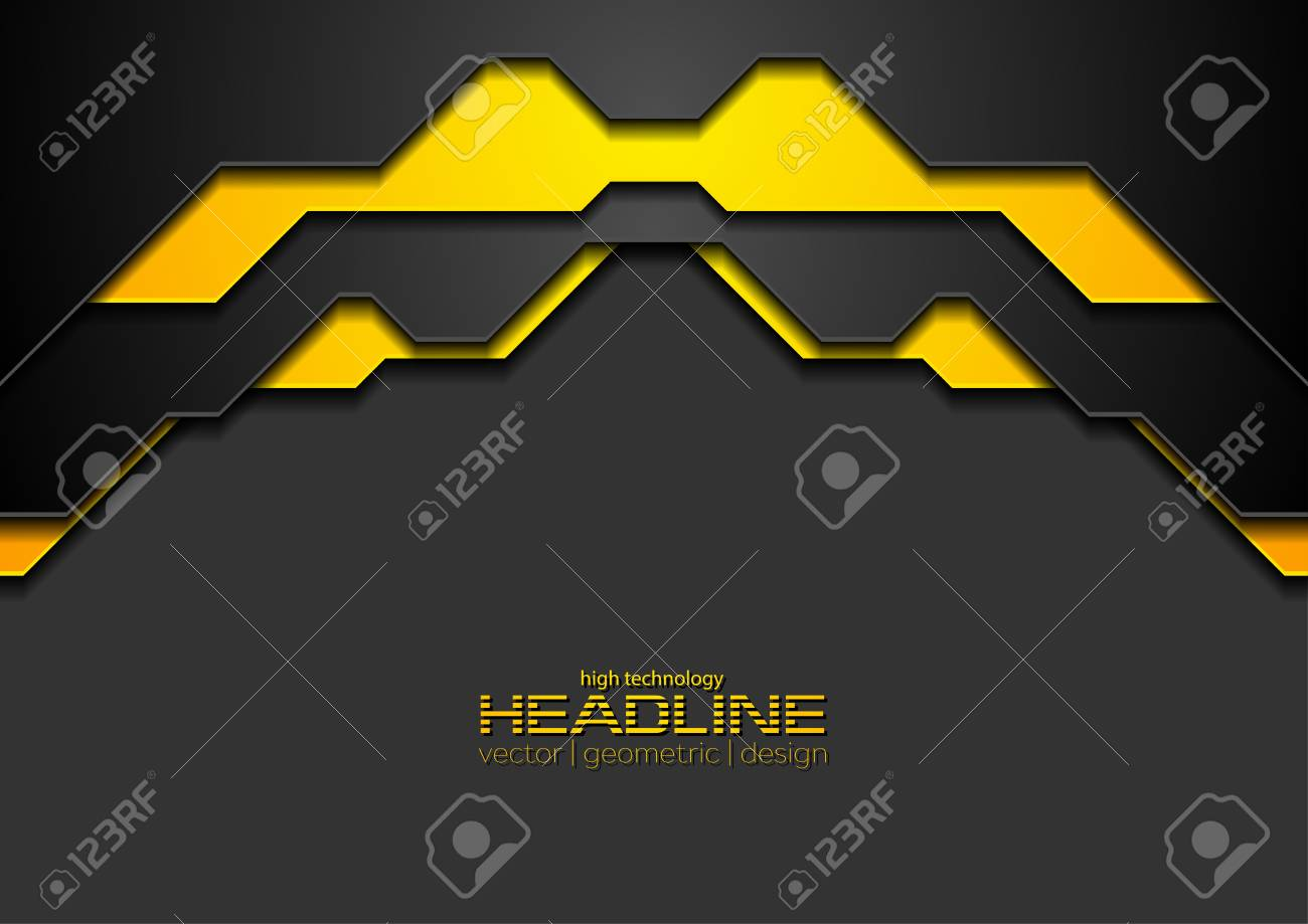 Abstract black and orange corporate hi-tech background. Vector modern design - 128176331