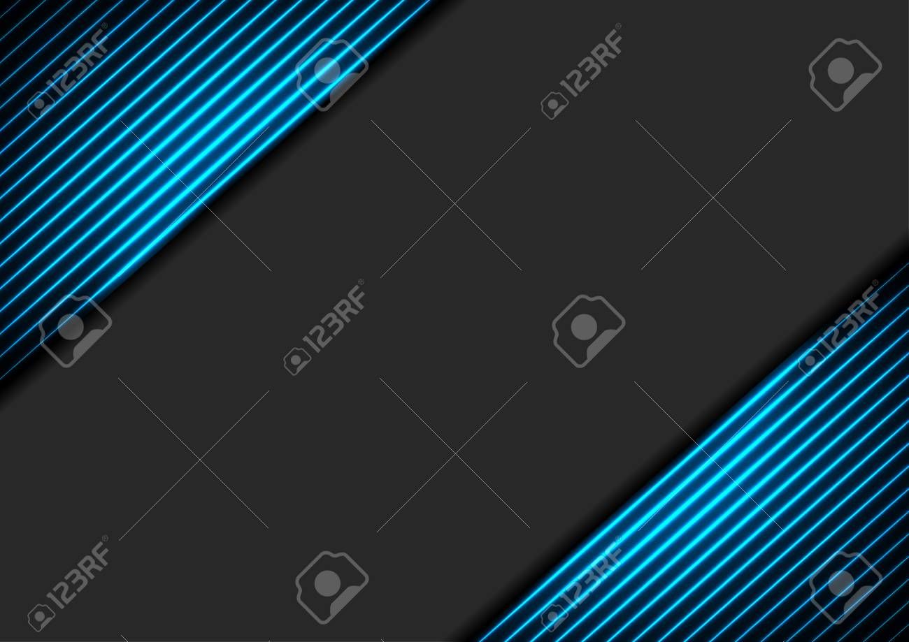 Black abstract corporate background with blue neon glowing lines. Vector hi-tech design - 128176363