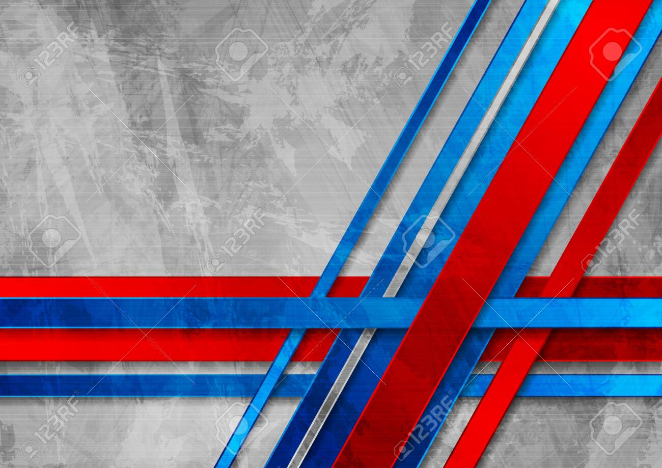 Grunge Grey Wall Abstract Graphic Design With Red Blue Corporate