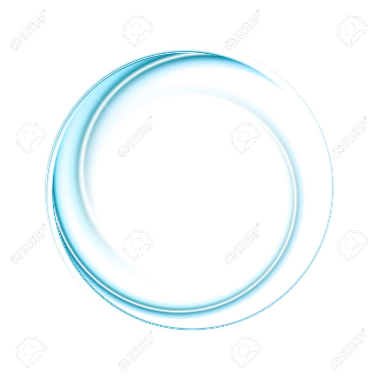 Bright blue smooth abstract circular logo technology background - 130399473
