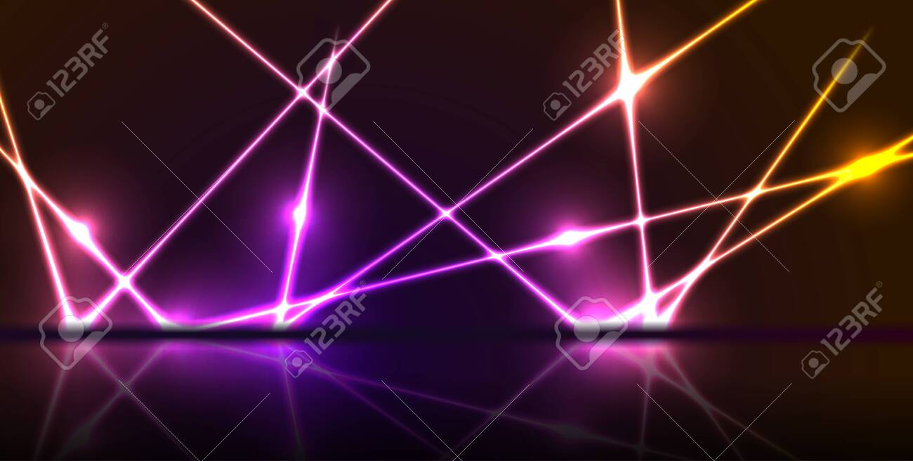 Purple and orange neon laser lines with reflection. Abstract rays technology retro background. Futuristic glowing graphic design. Modern vector illustration - 147242709