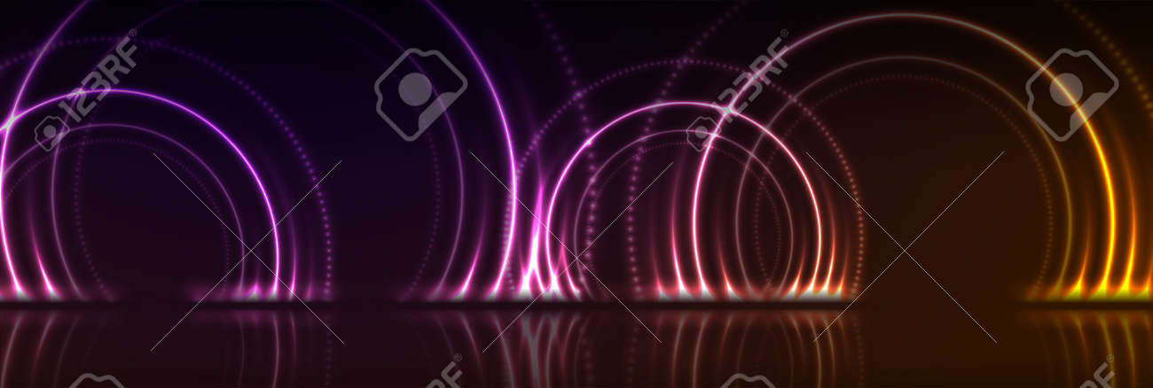 Orange and purple neon laser circles with reflection. Abstract technology background. Futuristic glowing vector banner design - 169078141
