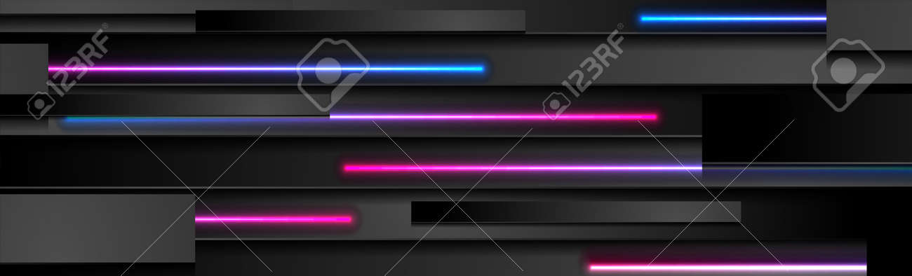 Abstract black stripes with blue purple neon glowing light. Vector technology banner design - 169078144
