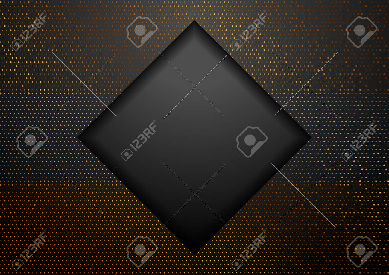 Geometric tech black square background with golden dots. Abstract vector design - 169078154