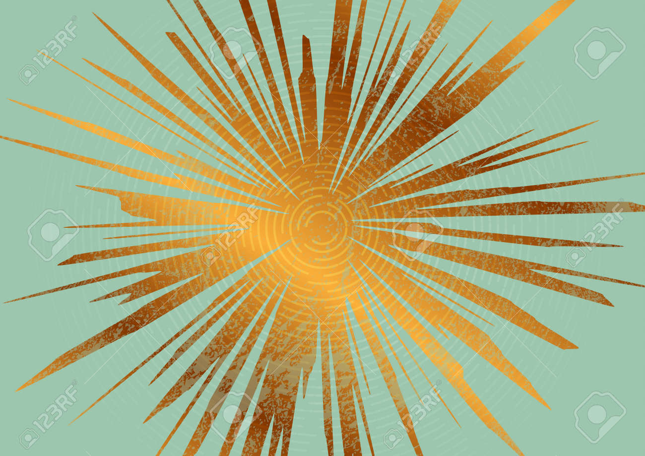 Abstract golden grunge sun concept art background. Vector minimal geometry design - 169078158