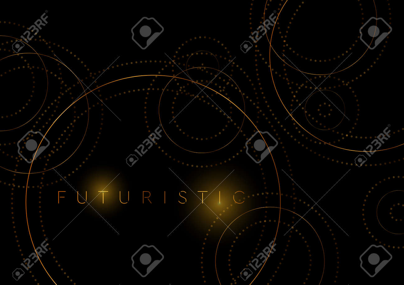 Luxury golden circles abstract geometric tech background. Vector design - 169078181