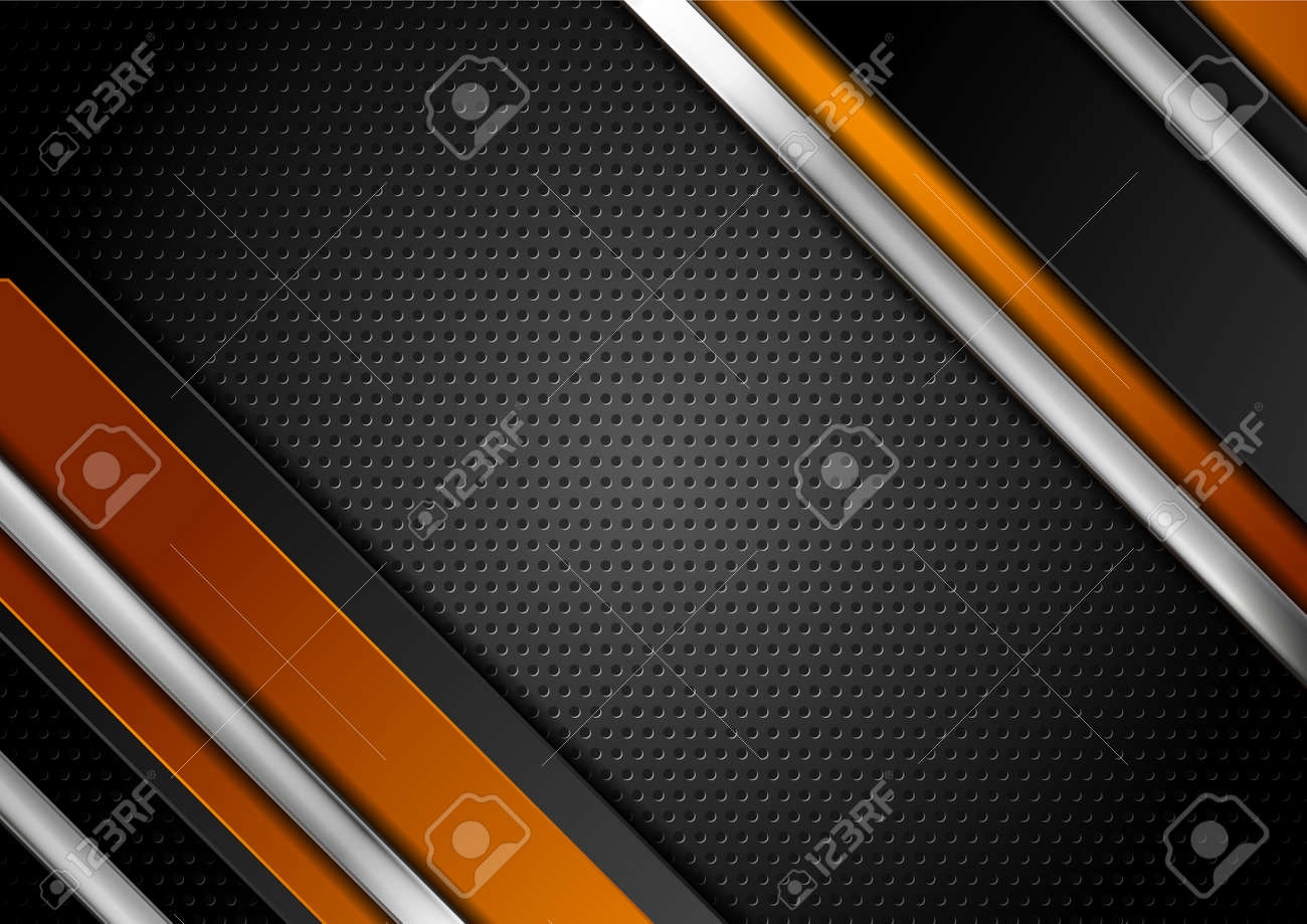 Technology orange and black abstract background with metallic stripes and perforated texture. Vector geometric design - 169078183