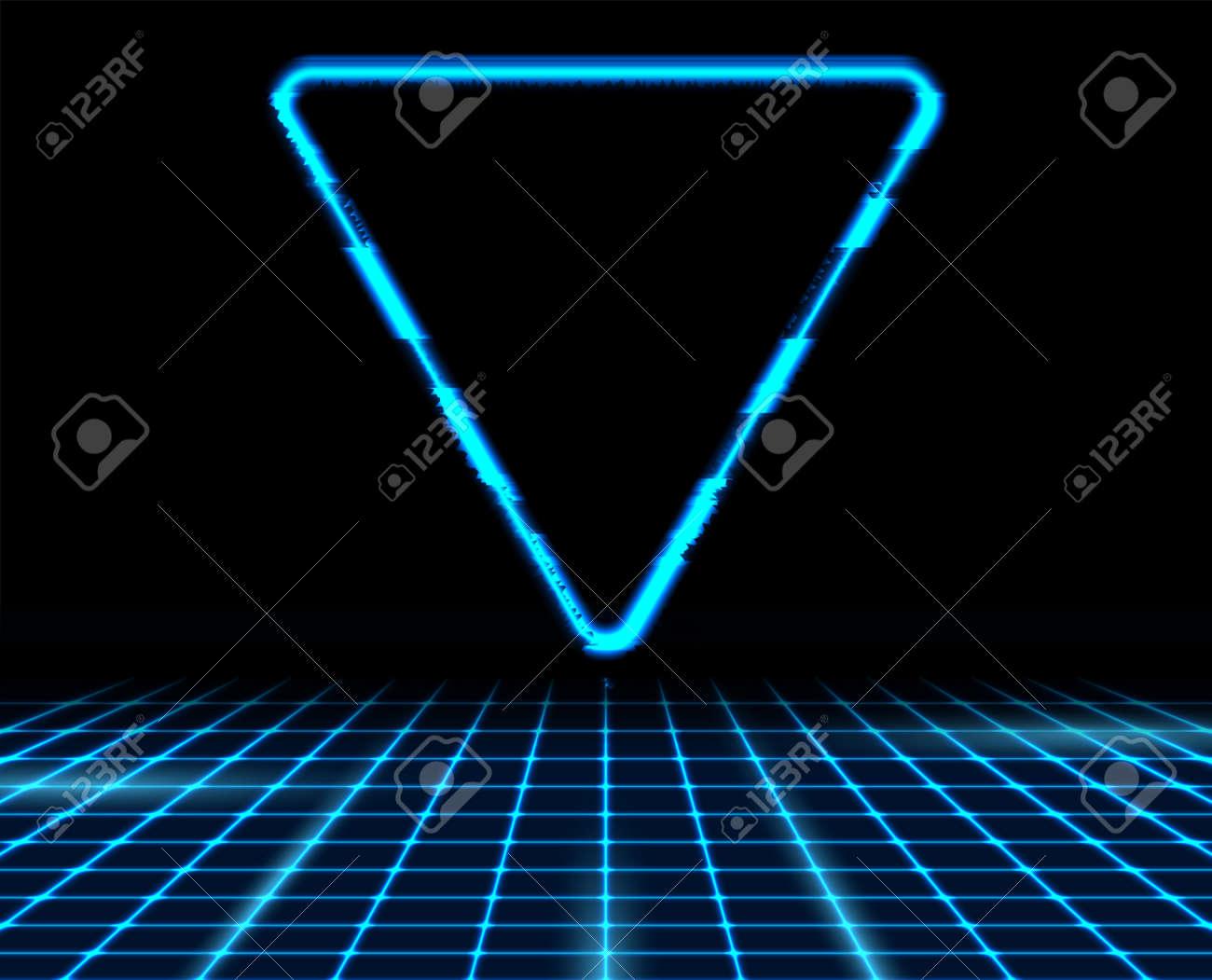 Retro futuristic 80s - 90s abstract hi-tech neon background with blue triangle. Vector poster design - 169078186