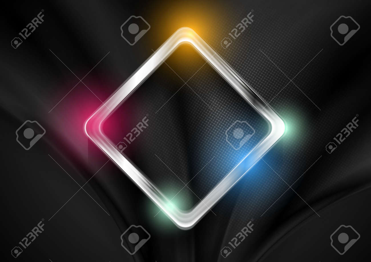 Abstract glossy shiny metallic square tech geometric background. Vector design - 169078191