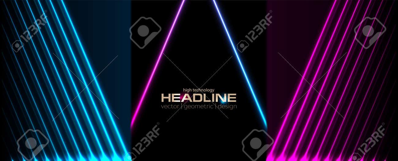 Sci-fi retro laser neon abstract technology background. Geometric blue purple vector design - 169078196