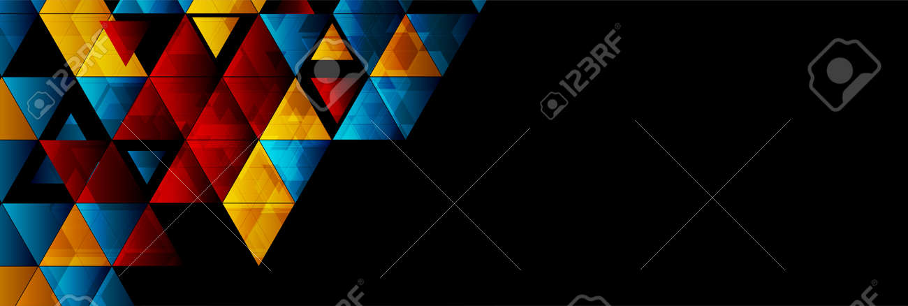Colorful glossy triangles abstract technology background. Geometric vector design - 169078213