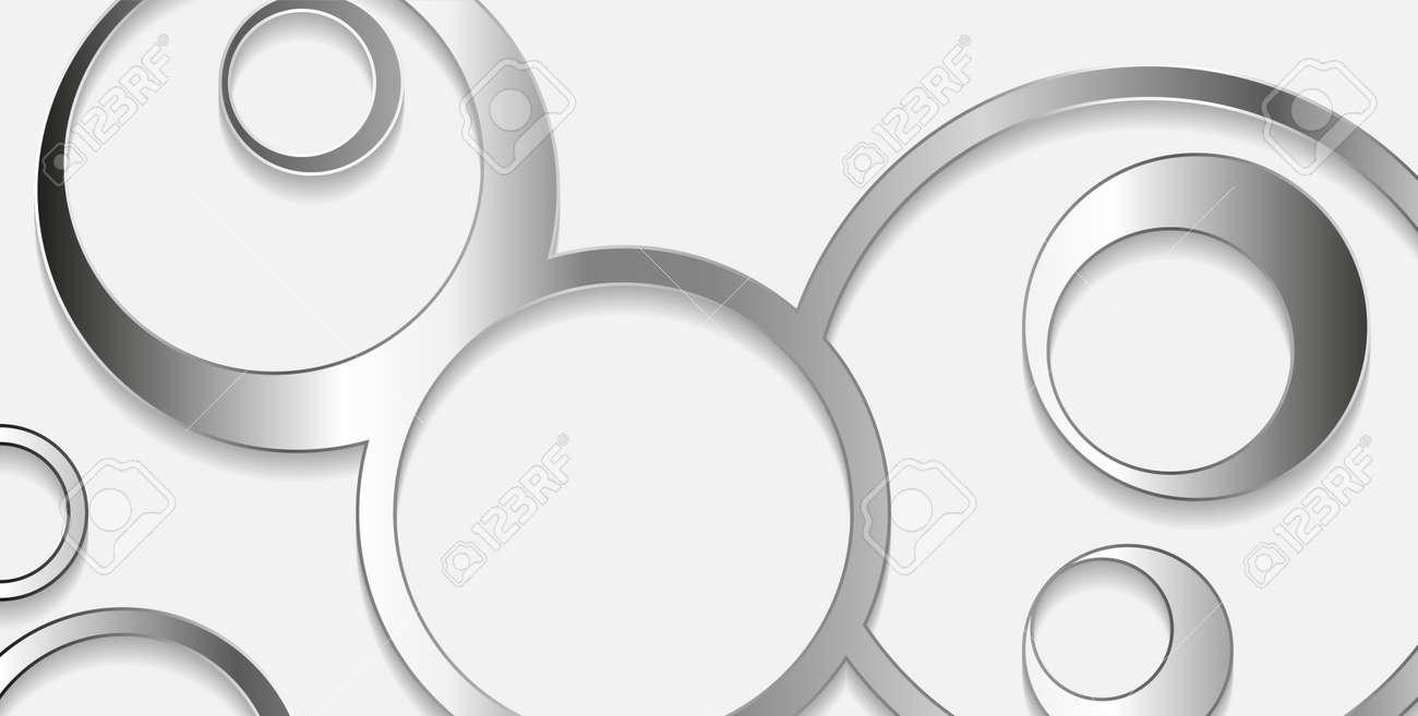 Silver metallic circular pattern abstract tech background. Vector geometric design - 169078215