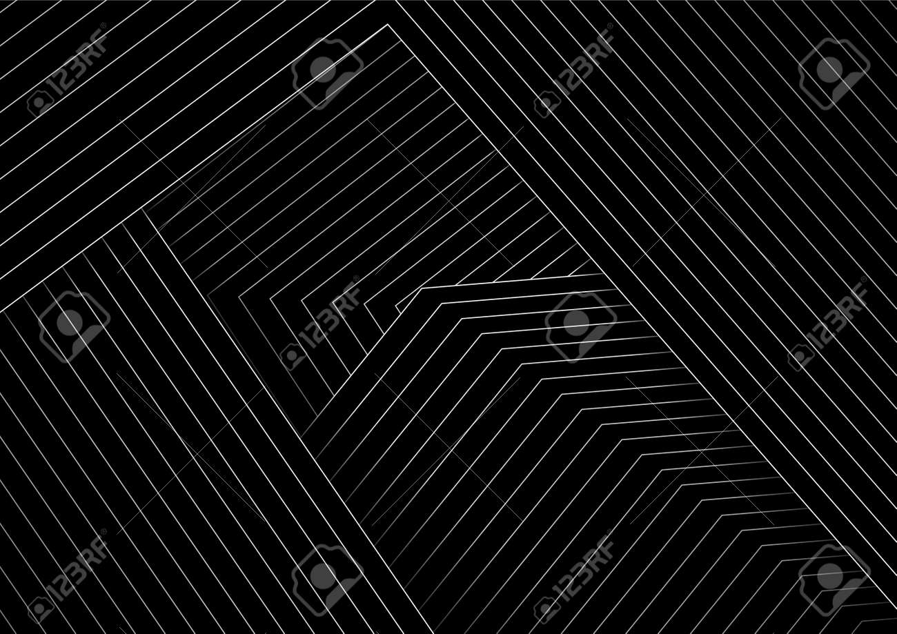 Abstract black minimal background with white lines. Vector geometric design - 169078218