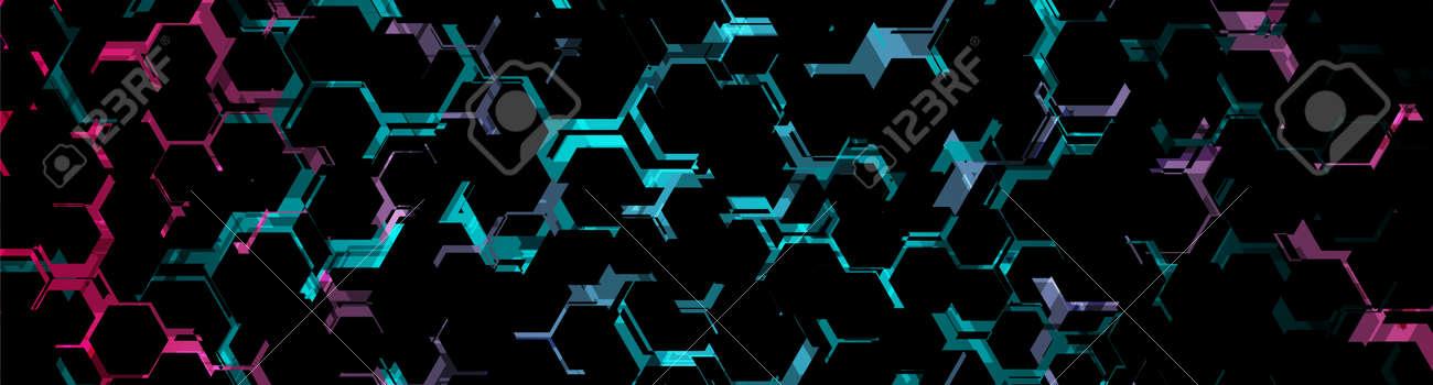 Abstract blue purple neon hexagonal pattern background. Geometric vector banner design - 169078222