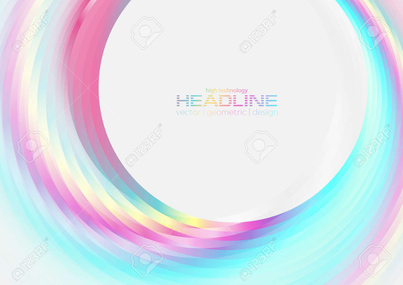 Holographic glossy circles geometric abstract tech background. Vector art colorful design - 169500745