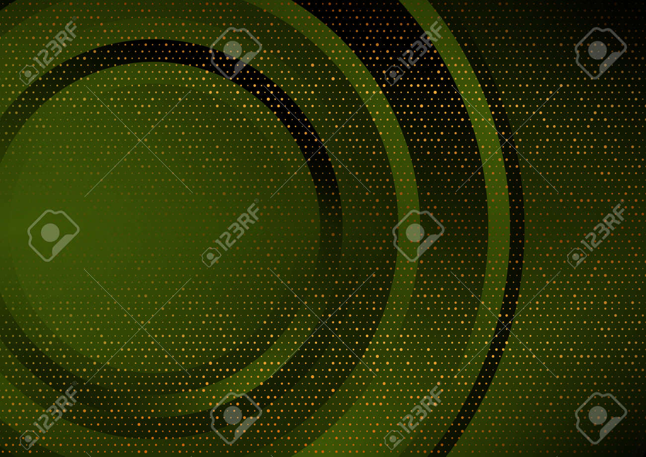 Dark green and golden abstract tech geometric - 169500847