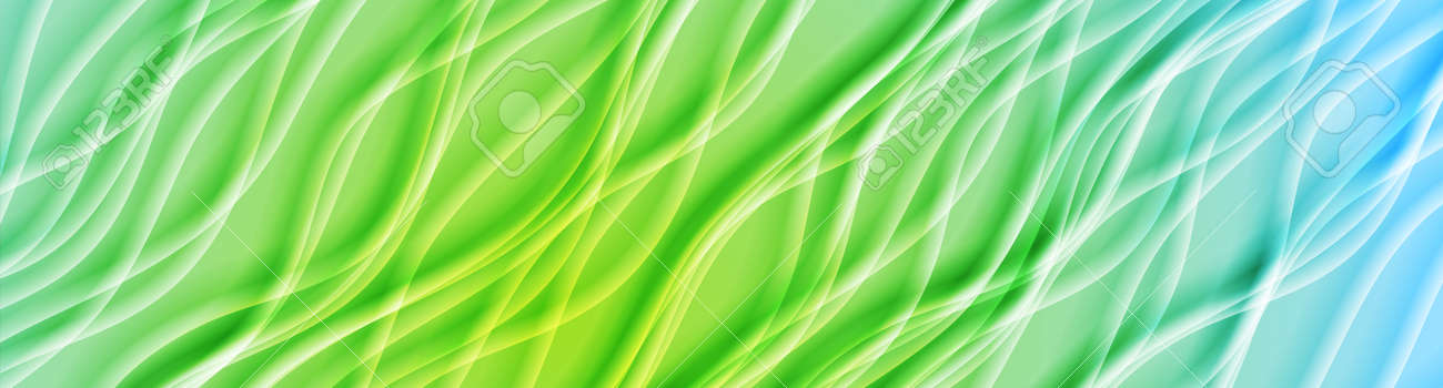 Light blue and green smooth blurred waves abstract - 169500851