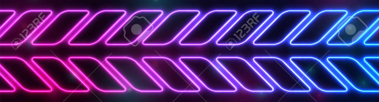 Bright blue purple abstract neon arrows tech banner design. - 169500866
