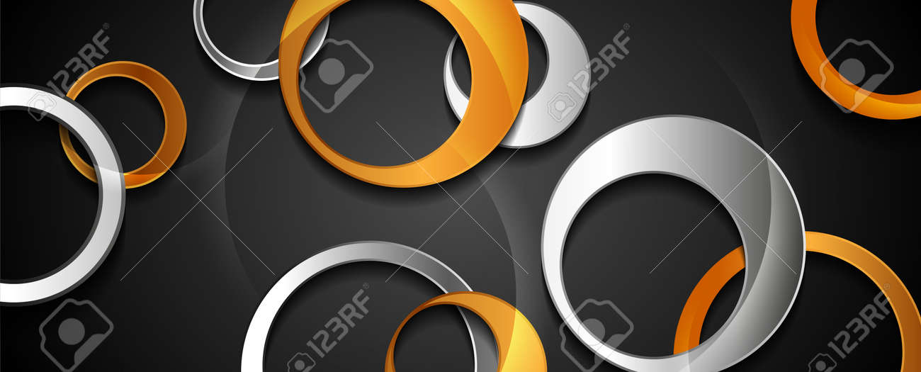 Golden and silver glossy circles abstract technology background. Vector design - 169500885