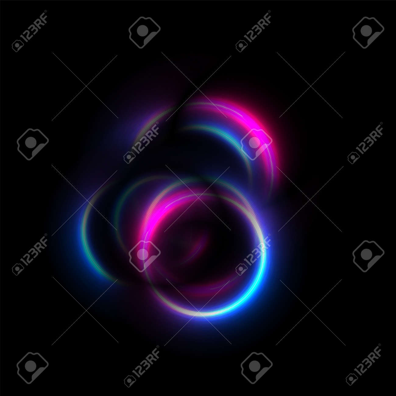 Blue and purple neon glowing smooth circles abstract background. Vector futuristic design - 169500892