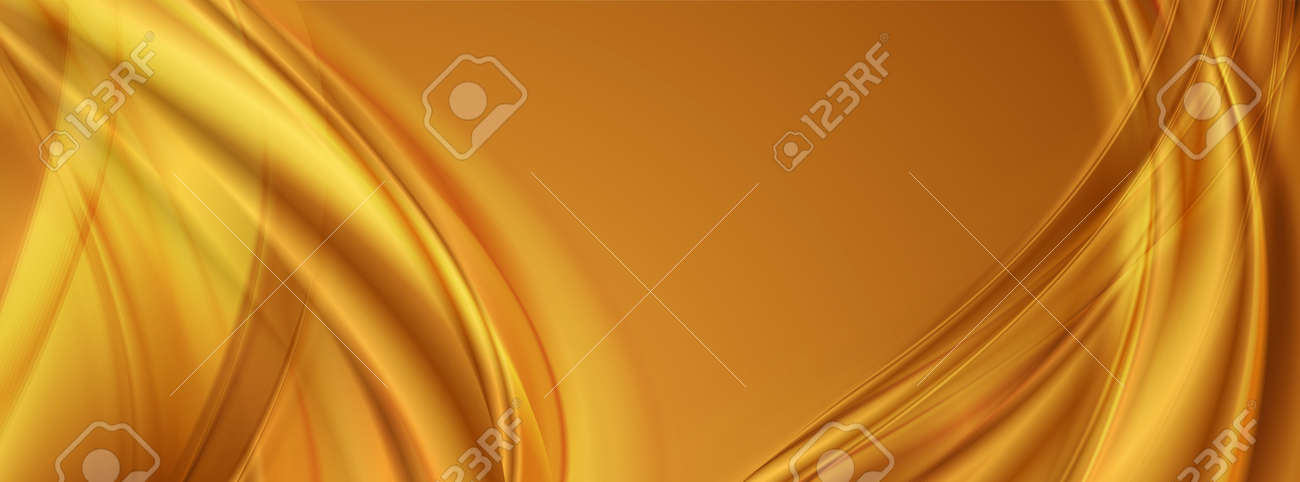 Golden smooth blurred waves abstract background. Vector banner design - 169500897