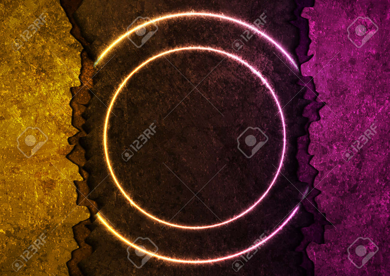 Orange and purple grunge broken concrete wall with neon circles abstract background. Vector design - 169500894