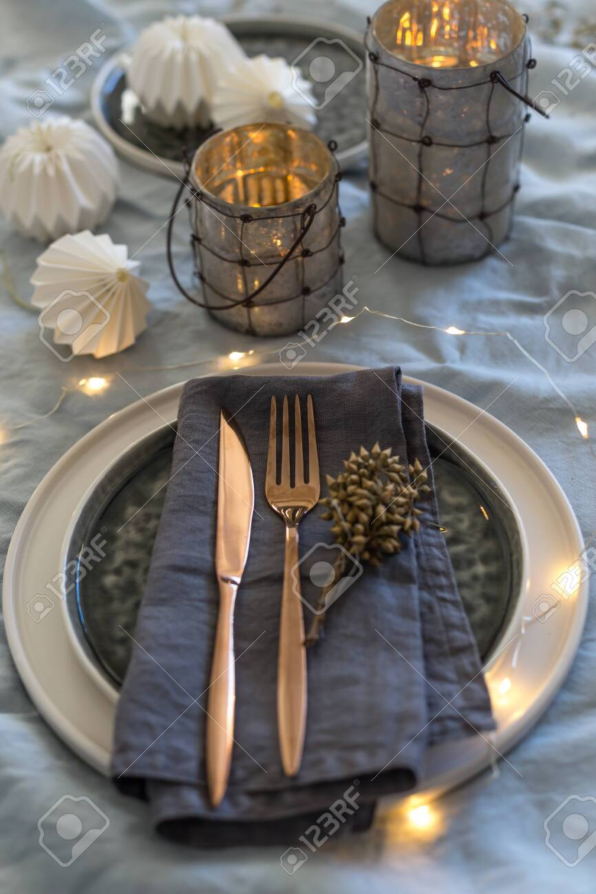 Vertical Shot Of Christmas Table Setting With Black And White Stock Photo Picture And Royalty Free Image Image 137345150