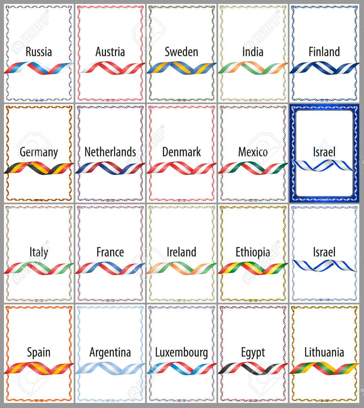 Un Conjunto De Marcos De Colores Banderas De Las Cintas De Varios ...