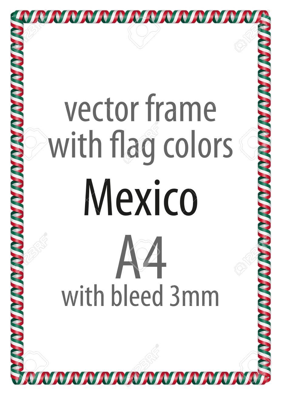 Marco Y Borde De La Cinta Con Los Colores De La Bandera De México ...