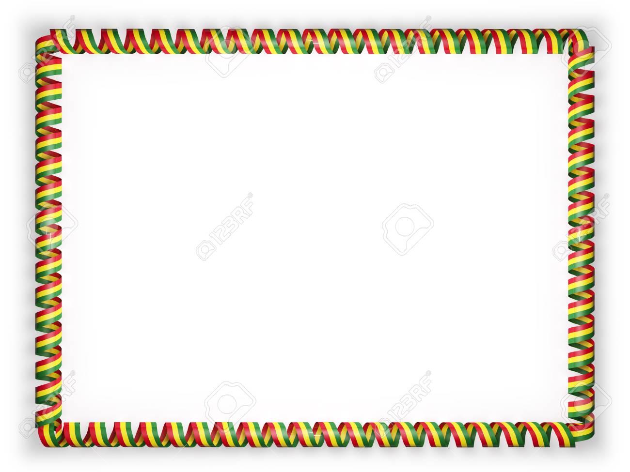 Marco Y Borde De La Cinta Con La Bandera De Bolivia. Ilustración 3d ...