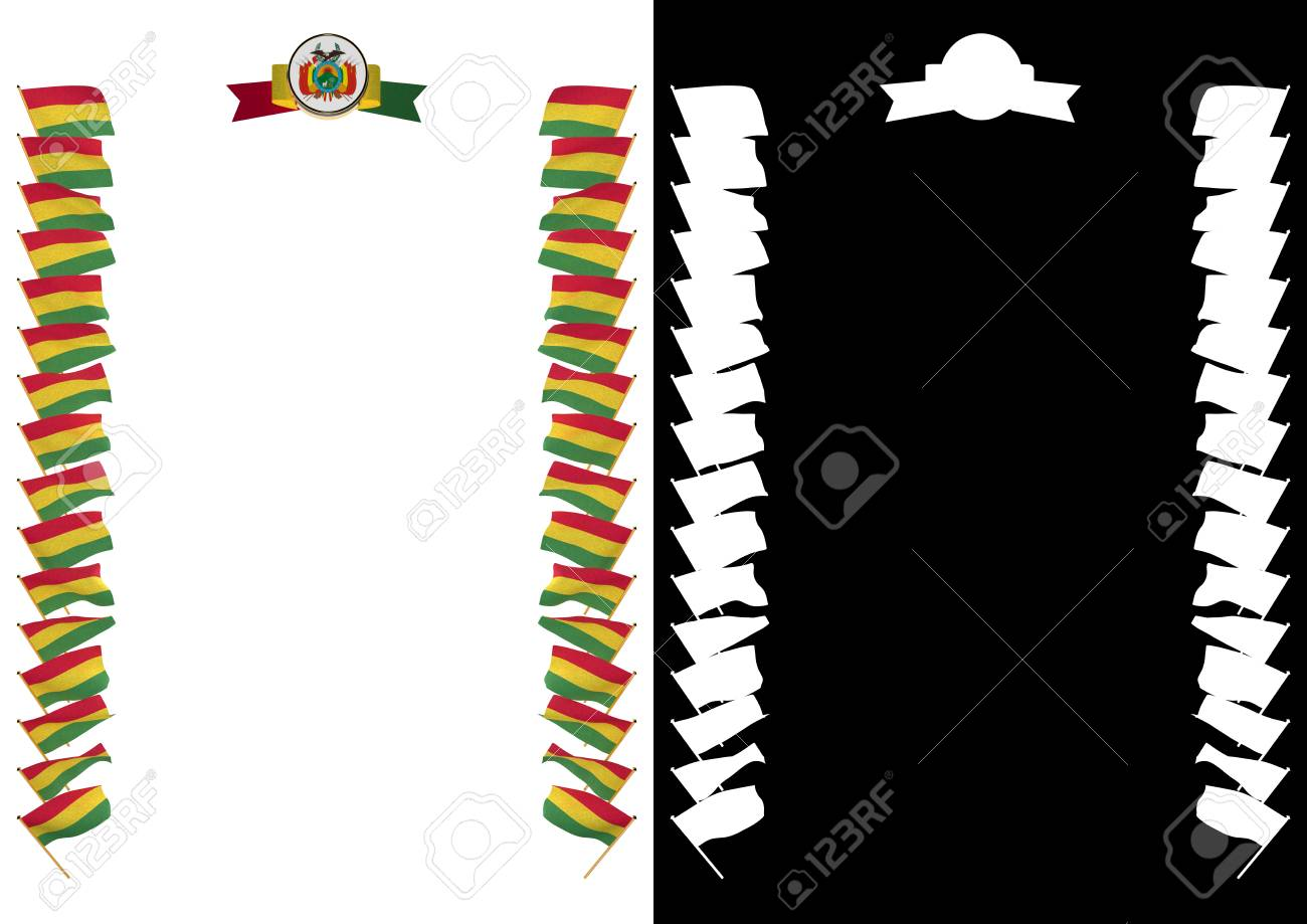 Marco Y Borde Con Bandera Y Escudo De Bolivia. Ilustración 3d Fotos ...