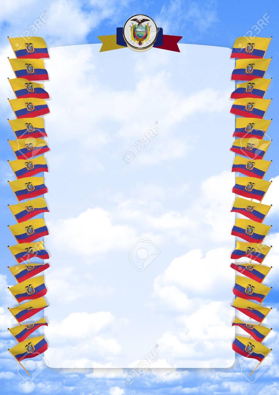 Marco Y Borde Con Bandera Y Escudo De Ecuador. Ilustración 3d Fotos ...
