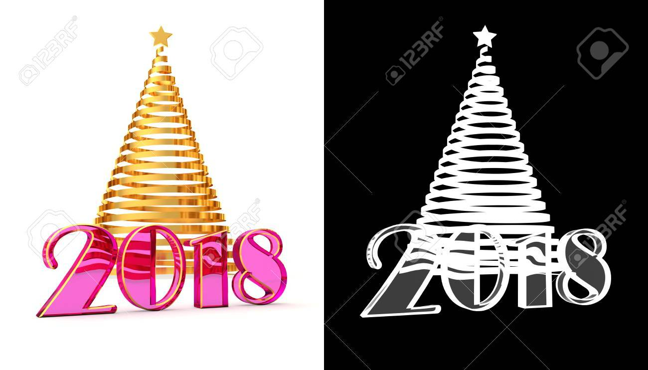 2018 Jahre Weihnachtsbaum Vom Glänzenden Goldband Mit Einem ...