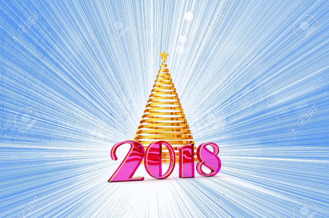 2018 Jahre Weihnachtsbaum Aus Glänzendem Goldband Mit Einem Goldenen ...