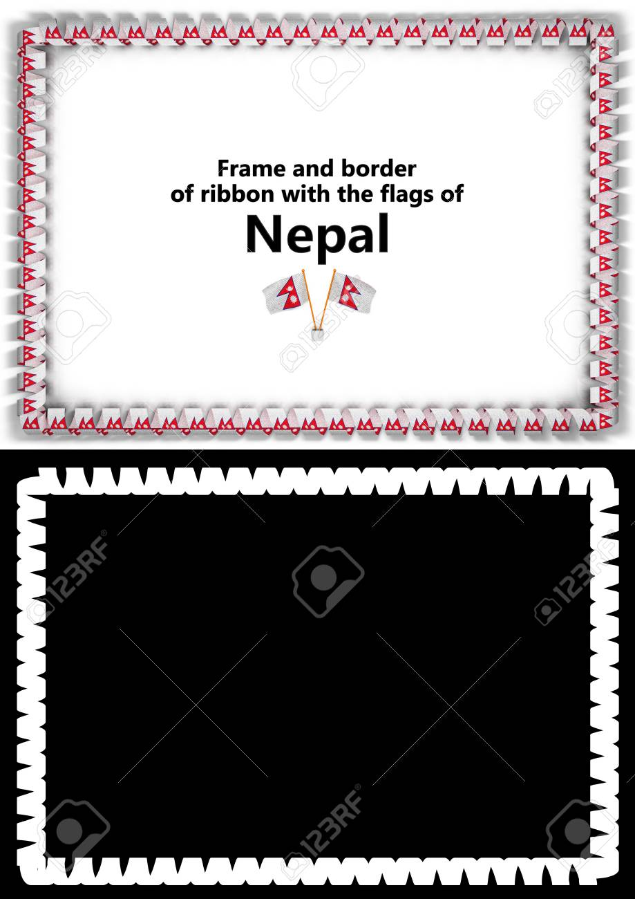 Frame And Border Of Ribbon With The Nepal Flag For Diplomas,.. Stock ...