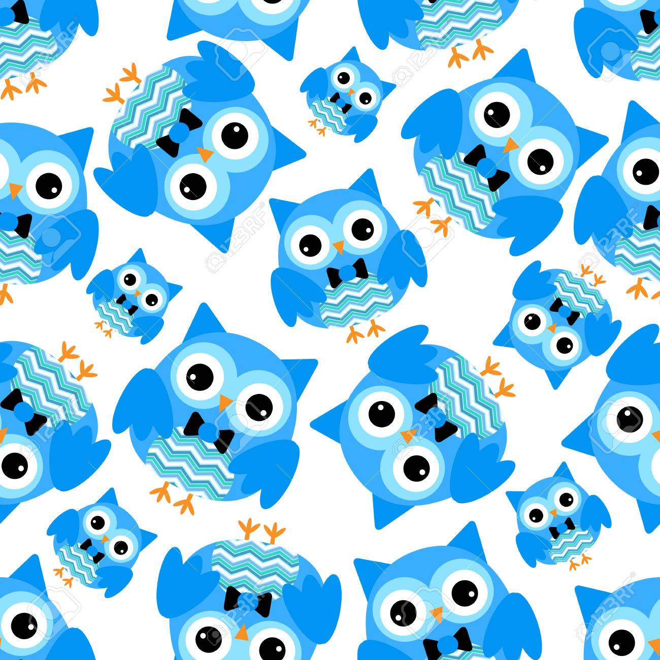 Seamless Background With Cute Blue Owls Suitable For Wrapping Paper And Wallpaper Stock Vector