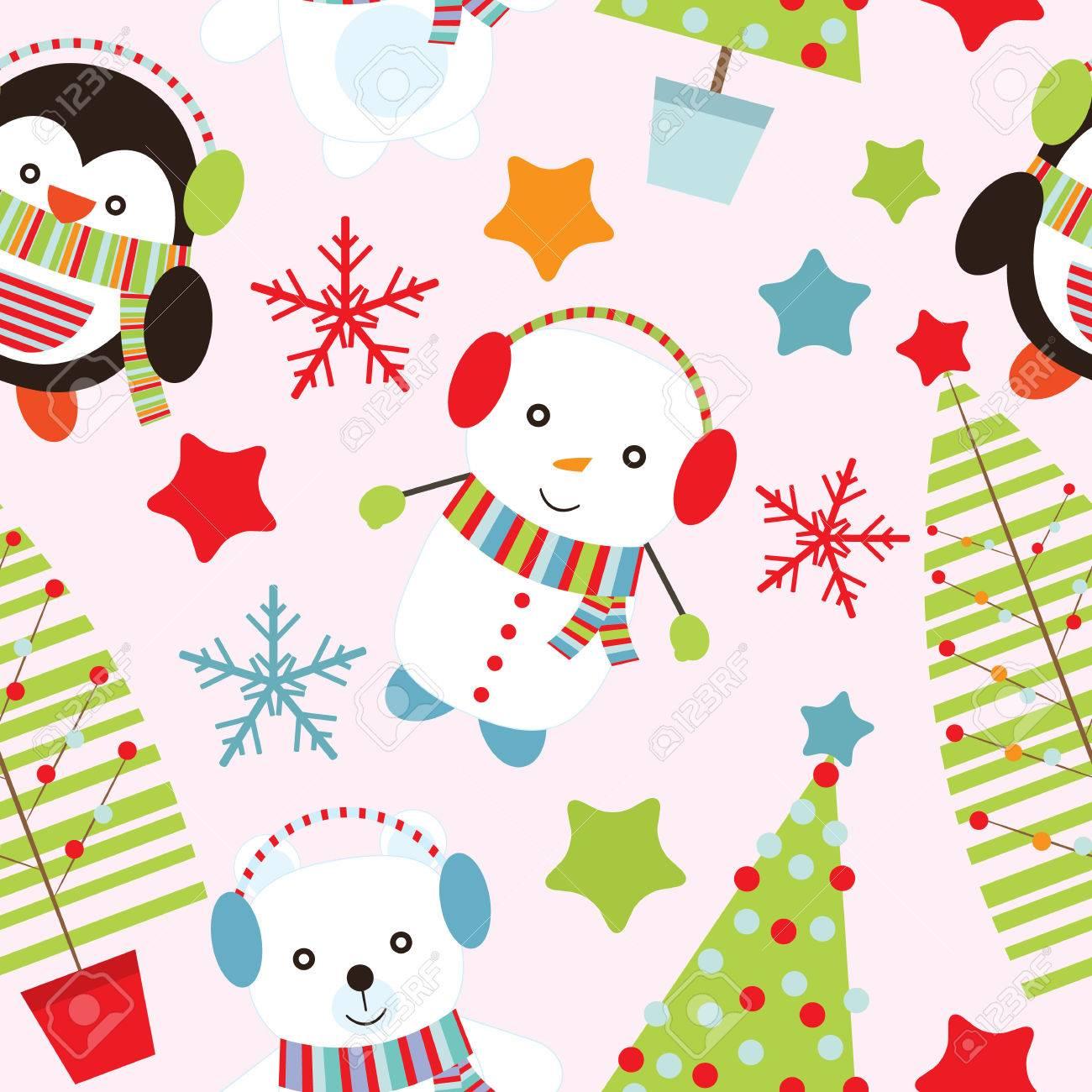 クリスマス イラストかわいいクマ 雪だるま ピンクの背景の壁紙 ポストカード メモ用紙に適したペンギンとのシームレスな背景のイラスト素材 ベクタ Image