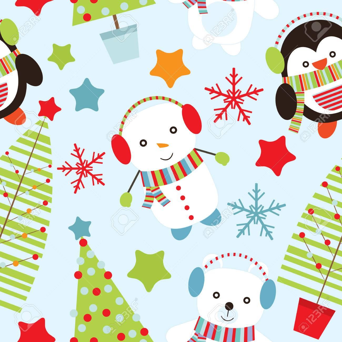 クリスマス イラストかわいいクマ 雪だるま 青い背景の壁紙 ポストカード メモ用紙に適したにペンギンとのシームレスな背景のイラスト素材 ベクタ Image