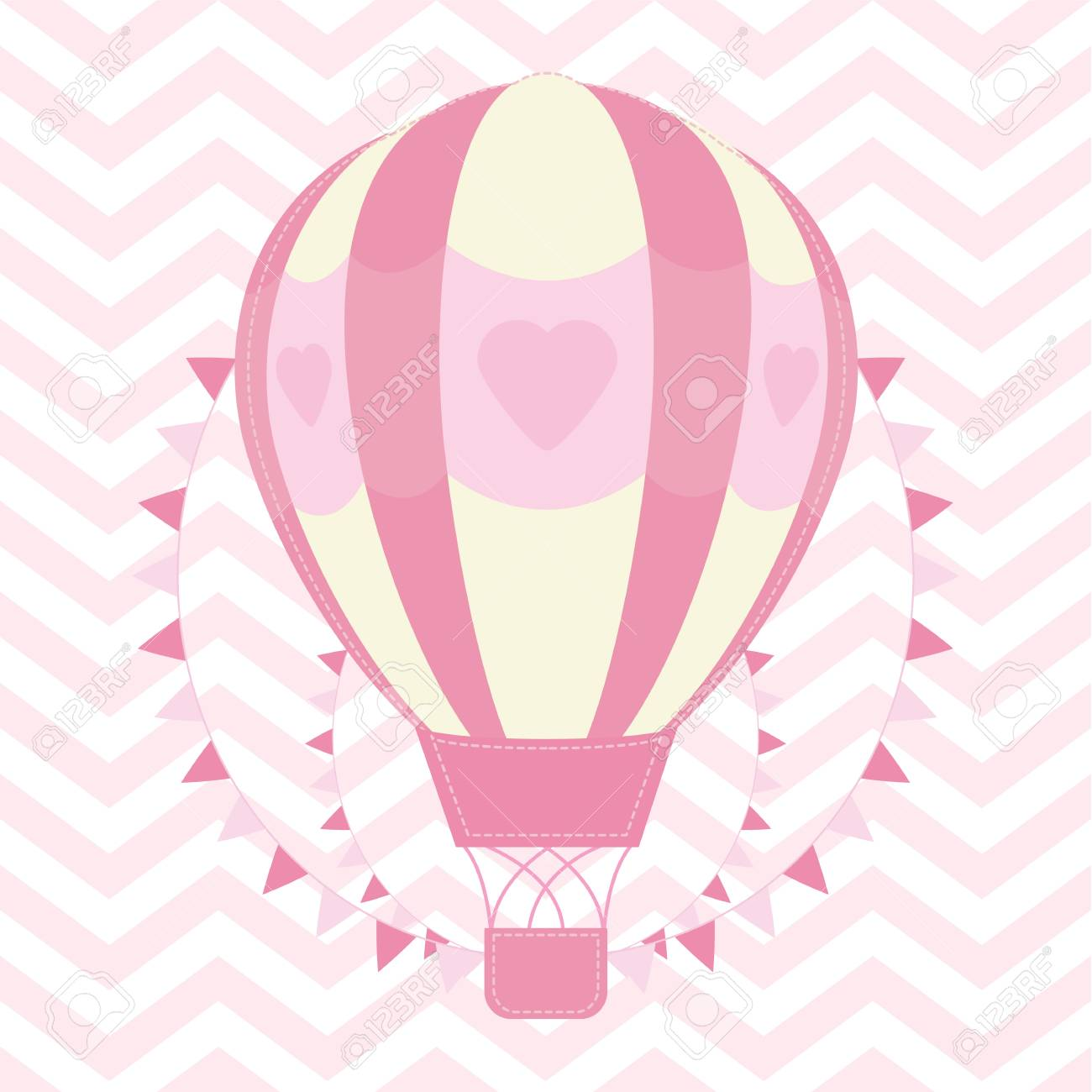 Baby Shower Illustration With Cute Pink Hot Air Balloon On Chevron