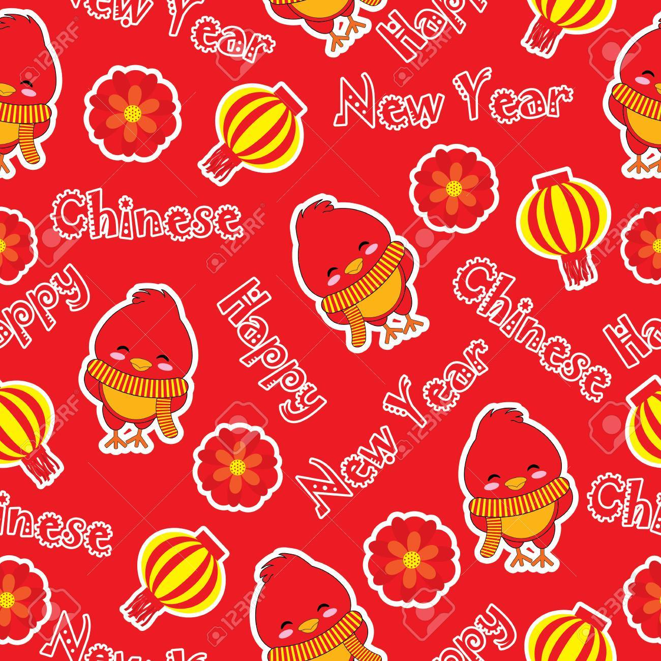 Seamless Patterm Of Chinese New Year With Cute Rooster On Red Background Vector Cartoon Suitable For