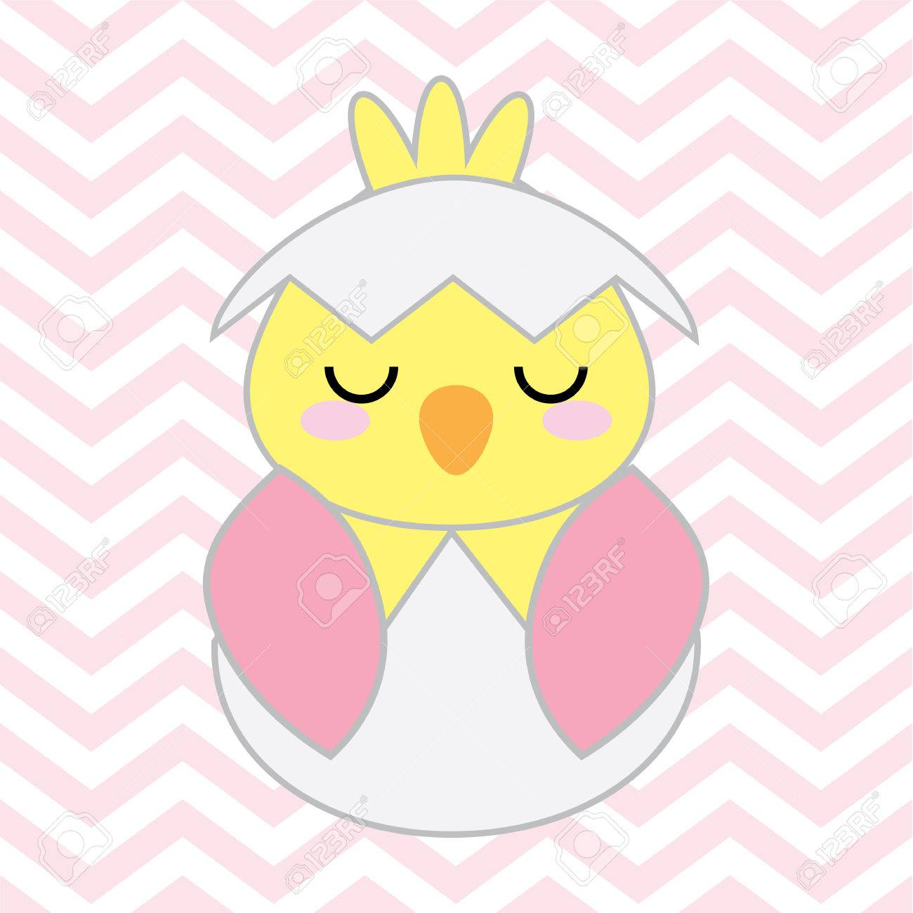 Baby Shower Illustration With Cute Pink Baby Chick On Chevron ...